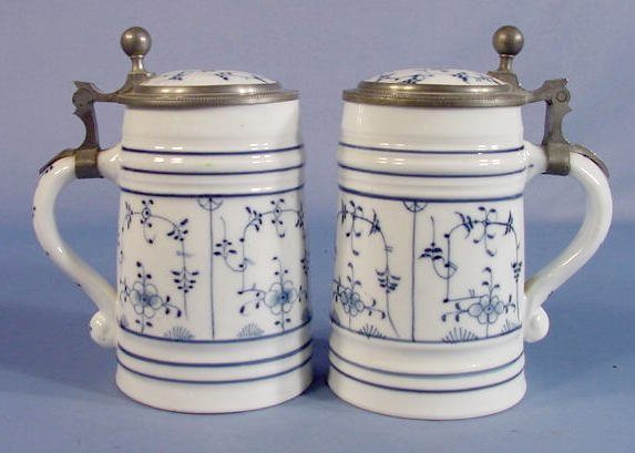 2: 2 Blue & White Porcelain Lithophane Steins
