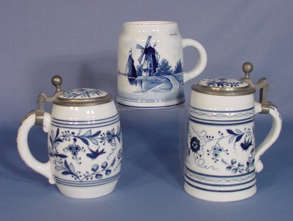 3: 3 Blue & White Porcelain Lithophane Steins