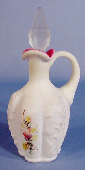 8: Fenton Satin Glass Cruet w/Painted Flowers