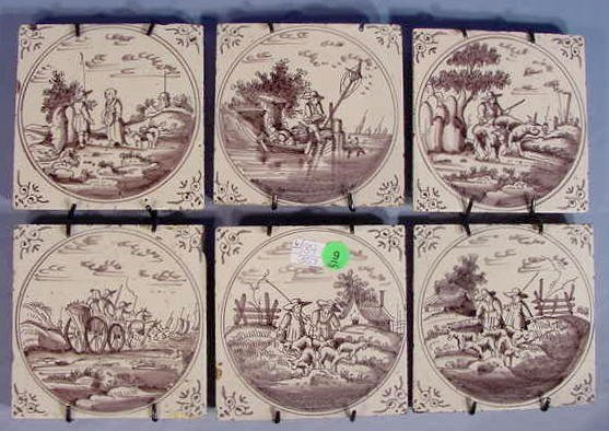 9: 6 Hand Painted Tiles w/Country Scenes