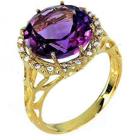 10A: 10KT Yellow Gold 6.38CT Amethyst & Diamond Ring
