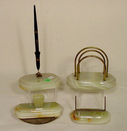 18: 4pc Green Onyx Diamond Point Desk Set