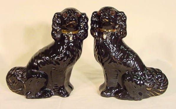 308: Pr Ceramic Mantel Dogs w/Glass Eyes