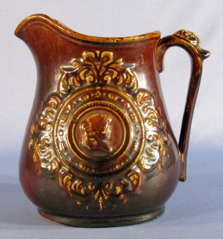 505: Rockingham Glazed Pitcher w/Portrait Medallions