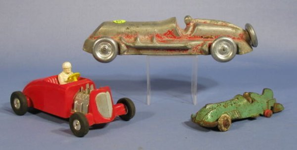 517: 3 Toy Race Cars: by Roach, Hubley & Saunders