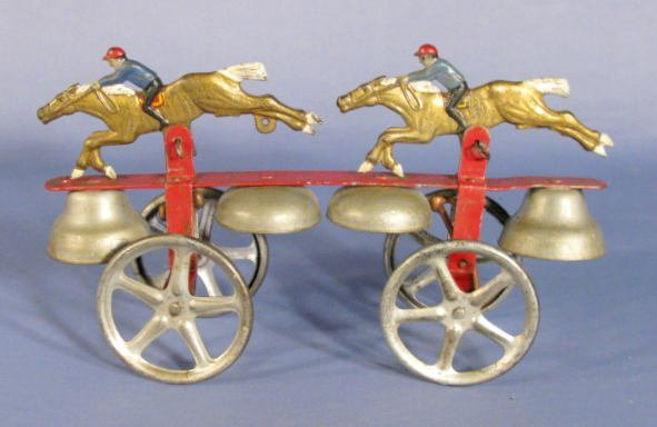 522: Bell Toy w/2 Race Horses & Riders