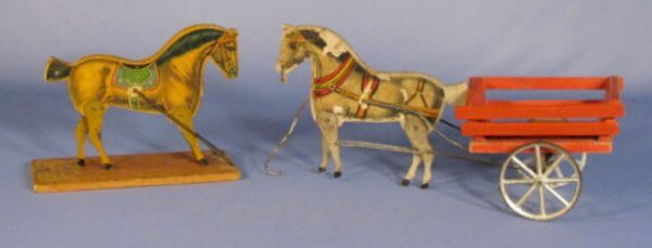526: Paper on Wood Horse Drawn Cart & Partial Toy