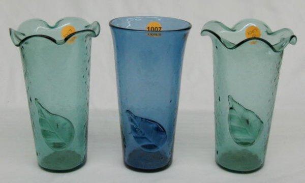 1007: 3 Venetian Style Glass Vases w/Applied Leafs