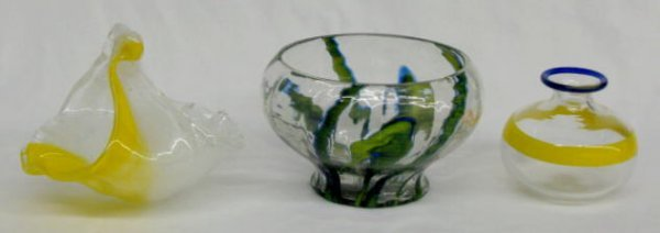 1010: 3 Murano Glass Items: Basket, Vase & Bowl