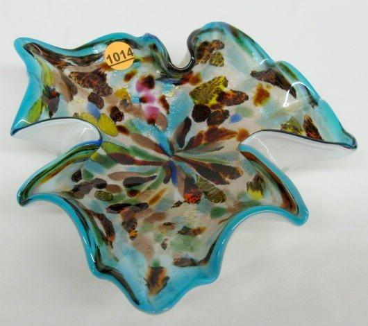 1014: Murano Glass Leaf Shaped Dish w/Vasa Murrhina