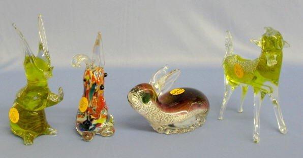 1017: 4 Murano Glass Animals: 3 Rabbits, 1 Horse