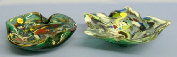 1020: 2 Murano Glass Dishes: Latticino &  Vasa Murrhina