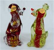 1048: 2 Murano Glass French Poodles