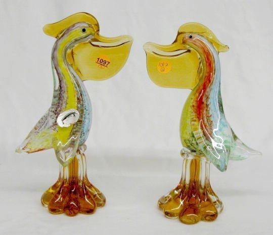 1097: 2 Elaborate J.I. Co. Murano Glass Pelicans