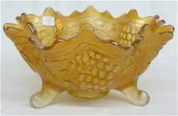 1330A: Marigold Carnival Glass Fruit Bowl on Scroll Fee