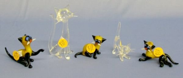 1021: 5 Glass Cats In Different Poses