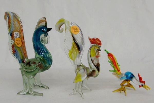 1022: 3 Murano Glass Chickens in Multicolors