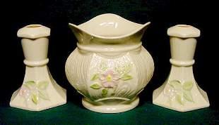 3 Belleek Wild Irish Rose Pot & Candlesticks NR