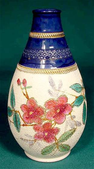 English Victorian Art Pottery Tapestry Vase NR