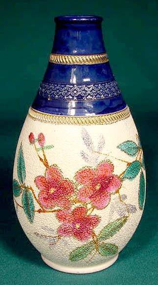 7: English Victorian Art Pottery Tapestry Vase NR