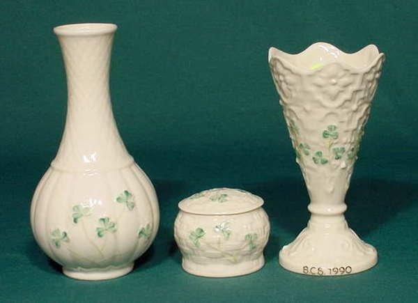 8: 3 Belleek 7th Brown Mark: Vases & Trinket Box NR