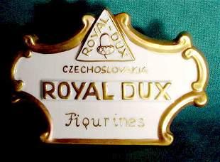 Gilded Porcelain Royal Dux Figurines Dealer Sign