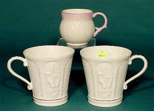 3pc Belleek 7th Brown Mark: 2 Mugs & 1 Cup NR
