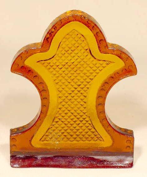 18: Victorian Amber Pattern Glass Ornament SCARCE NR