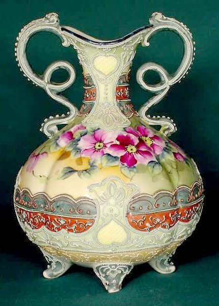 55: HP Nippon Moriage Handled Vase, Signed, NR