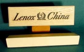 60A: 2 Lenox China Wood Finish Dealer Display Signs NR