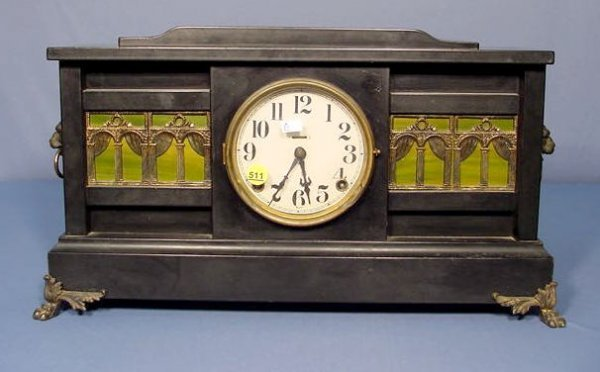 511: Ingraham Palace Enameled Wood Mantle Clock