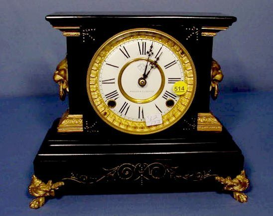 514: Ansonia Enameled Iron Clock