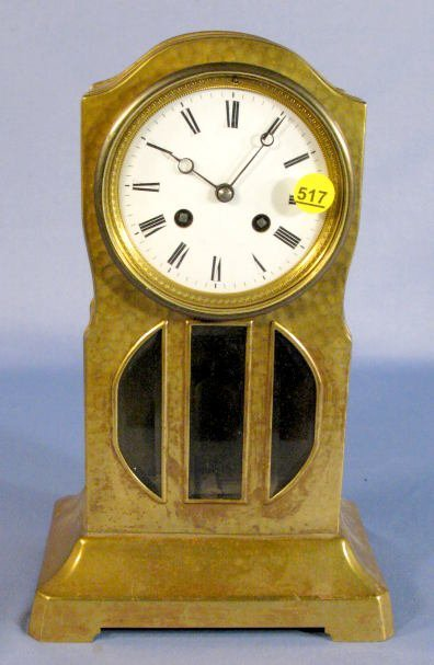 517: French Art Nouveau Brass Clock