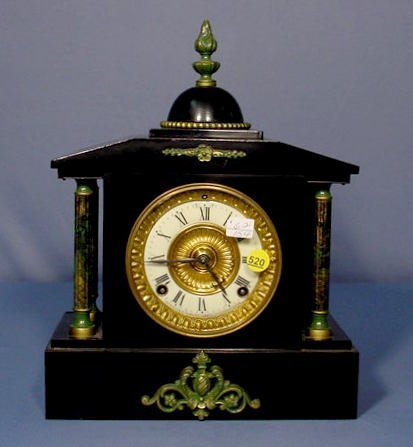 520: Ansonia Enameled Iron Mantle Clock