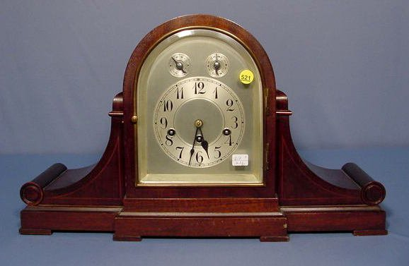 521: Junghans Full Westminster Tambour Scroll Clock
