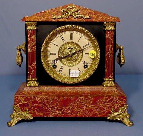 526: Ingraham Marbleized Adamantine Mantle Clock
