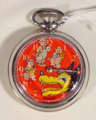 606A: 1933 Ingersoll Big Bad Wolf & 3 Pigs Pocket Watch
