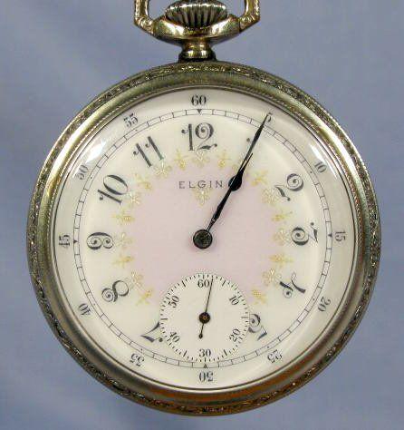 Elgin 17J 16S Fancy Dial Pocket Watch
