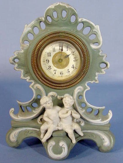 13: Green & White Porcelain Clock w/Classical Youth
