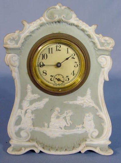 15: Miniature Green & White Porcelain Clock