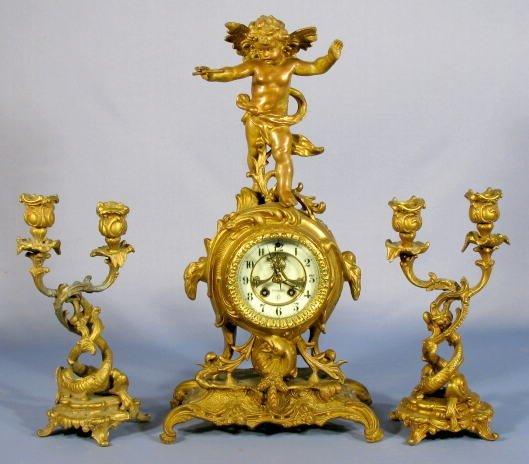 21: Gilbert Myron Mantle Clock w/#1650 Candle Holders