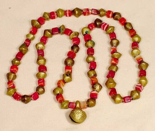 516A: Beaded Glass & Brass Ethnic Necklace & Pendant NR