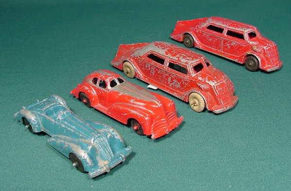 613: 4 Metal Manoil Toy Cars NR
