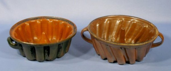 12: 2 Pottery Turban Molds with Handles