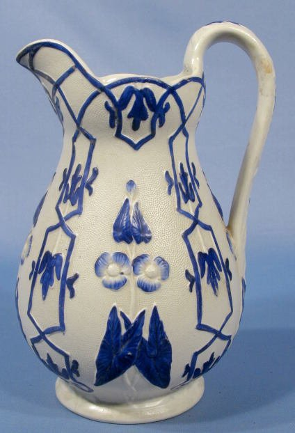 16: English Parian Jug w/Cobalt Stained Design
