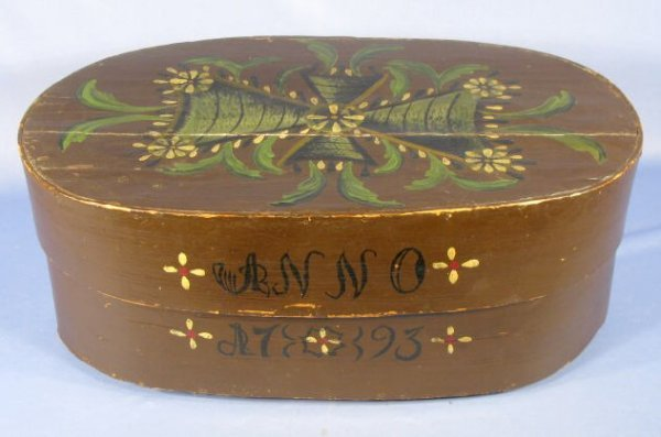 "19: Oval Dowry Box- Painted ""ANNO 1793"""