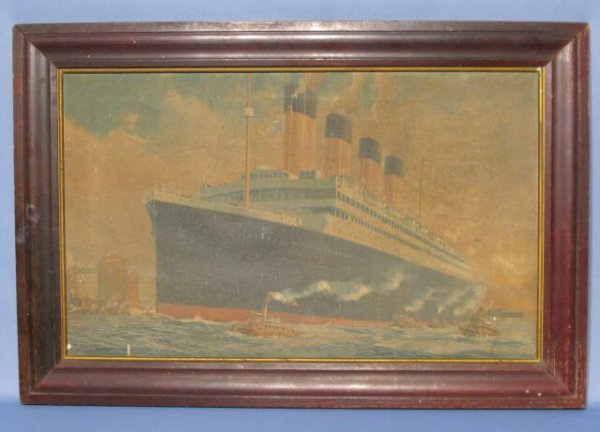 52: Fred J. Hoerty Oceanliner Oil Painting on Canvas