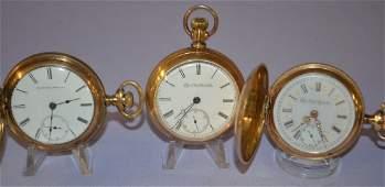 3 Elgin 18S Wheeler & Raymond Pocket Watches