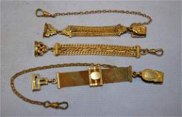 3 Antique Gold Plated Watch FobChains