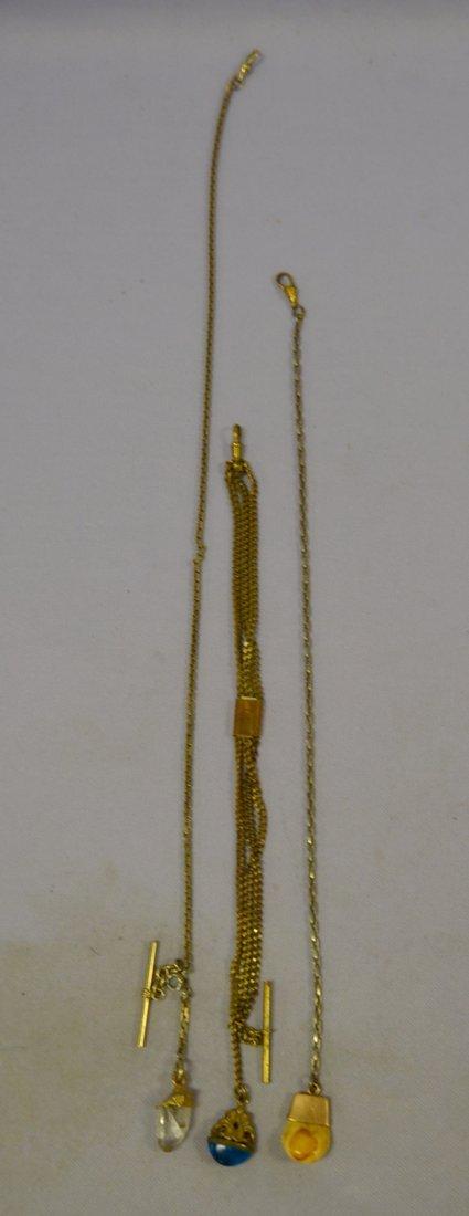 3 Vintage Watch Chains w/ Stones